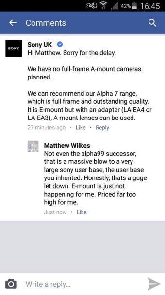 No more Sony A-mount